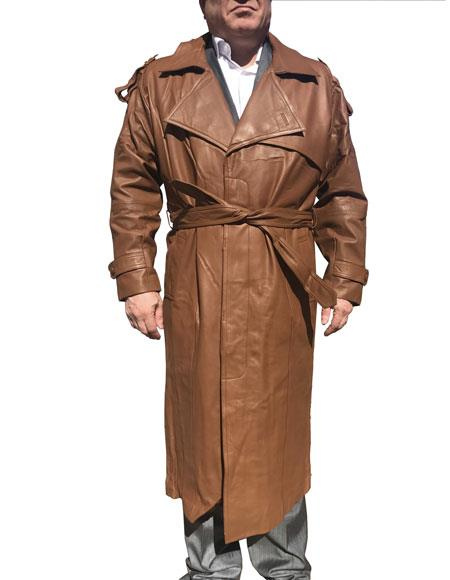 Product# CH1573 Mens Real Leather Brown Long Trench Coat ~ Overcoat Available in Big and Tall Sizes