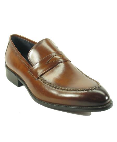 Carrucci Mens Brown Genuine