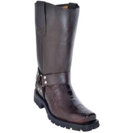 Ostrich Leg Biker Boots