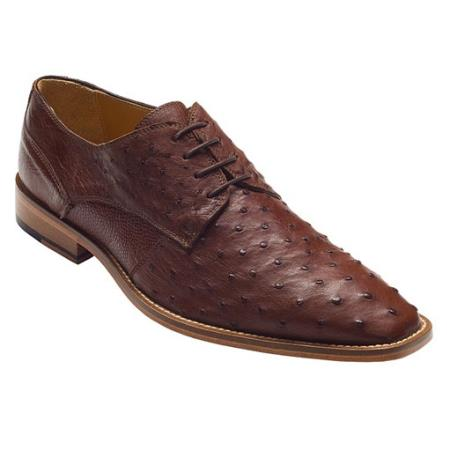 Product# PN-38 brown color shade Genuine Ostrich Lace-Up