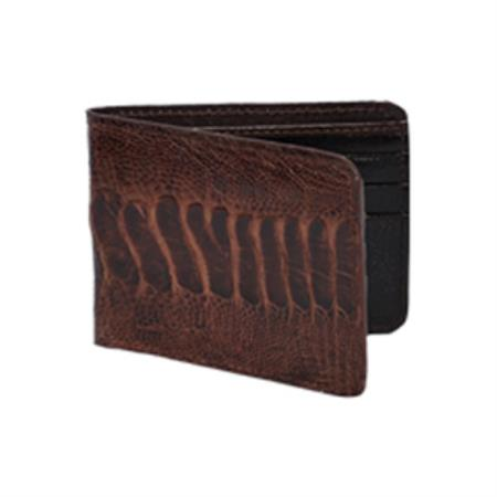 Product# KA2711 Wild West Boots Wallet- brown color shade Genuine Exotic Ostrich Leg