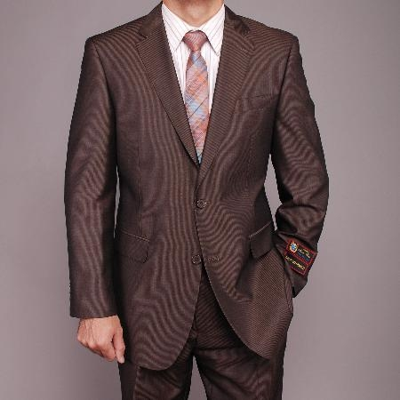 brown color shade Micro-Stripe ~ Pinstripe 2-button Suit