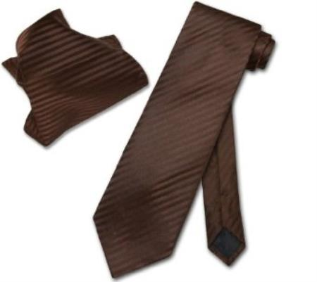 Product# KC7945 Chocolate brown color shade Striped NeckTie & Handkerchief Matching Neck Tie
