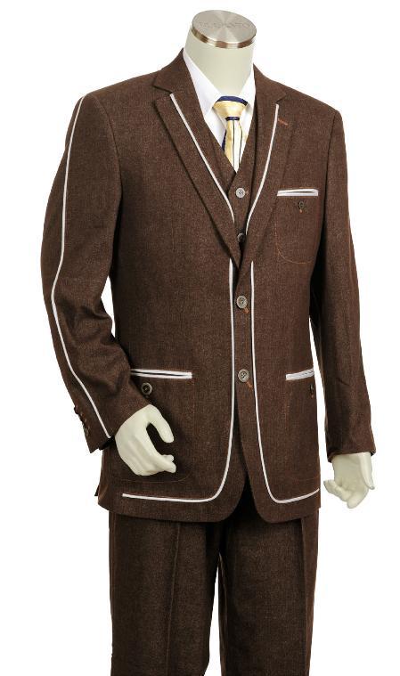 Brwon Three Button Suit