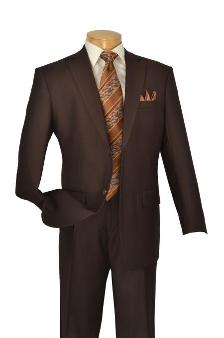 brown color shade 2 Button Style Big And Tall men's Suits for Online 2 Piece Italian Cut