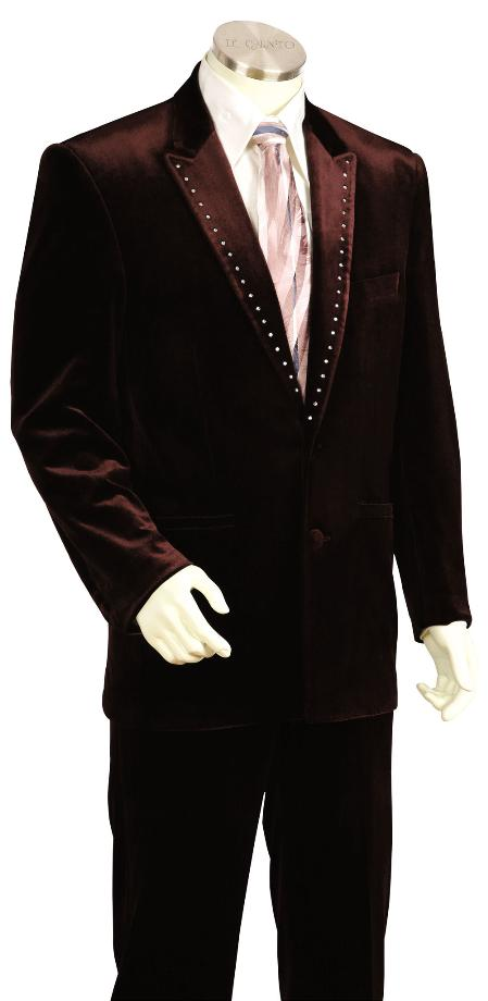 Product# NR7812 Stylish brown color shade Velvet Long Fashion Unique Tuxedo