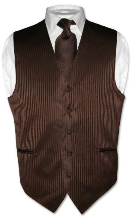 Product# KX5793 Dress Vest & NeckTie Chocolate brown color shade Striped Vertical Stripes Design Set