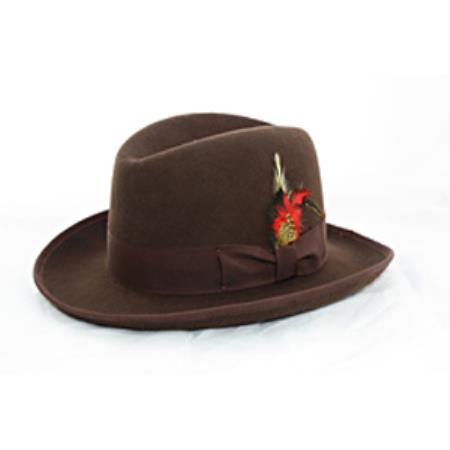 Product# PN-E6 'Godfather' brown color shade 100% Wool Fabric Homburg Dress Hat 4201