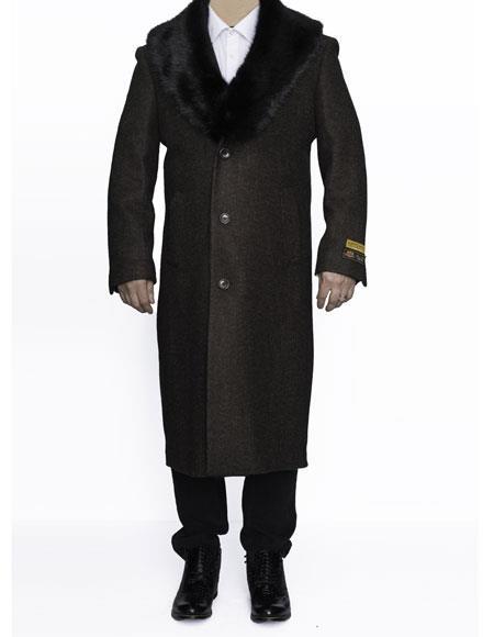 Product# AP766 Mens Removable Fur Collar Full Length Wool Dress Top Coat / Overcoat in Brown