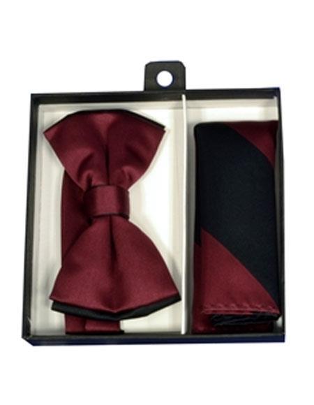 Mens Burgundy/Black Polyester Satin
