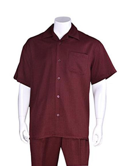 Mens Burgundy Casual Short