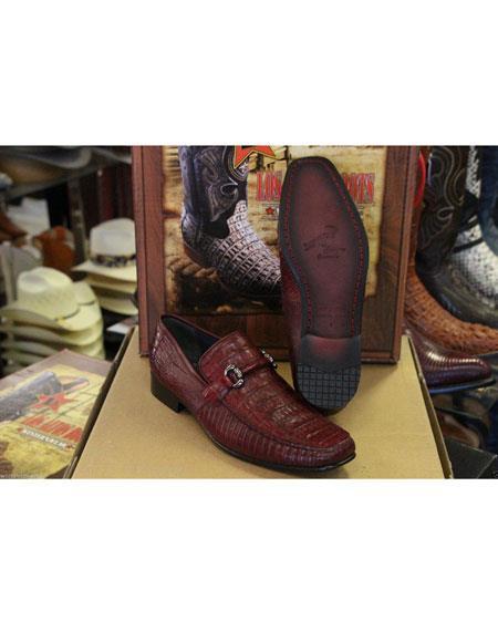 Product# JSM-4989 Men's Loafers and Slip On Genuine Crocodile Los Altos Burgundy Shoes