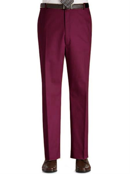 Product# BGU9 Stage Party Pants Trousers Flat Front Regular Rise Slacks - Burgundy ~ Maroon ~ Wine Color