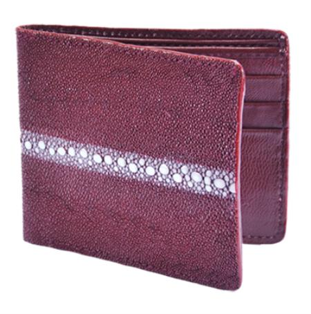 Product# BMN6111 Wallet ~ billetera ~ CARTERAS Burgundy ~ Maroon ~ Wine Color Genuine Stingray skin Rowstone Card Holder Wallet