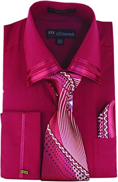 Product# JSM-647 Men's Fashion Burgundy Dress Shirt Matching Tie and Hankie Set