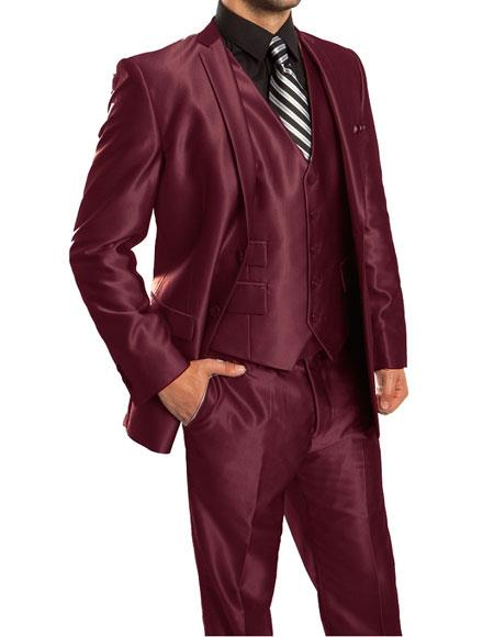 Men's Sharkskin Metallic Silky Shiny  Flashy 2 Button Single Breasted 3 Piece Suit Slim Fit Burgundy Suit