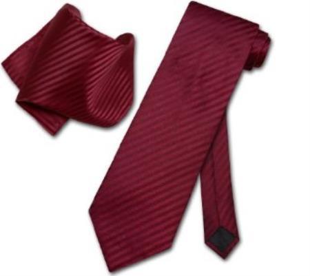 Product# EV8390 Burgundy ~ Maroon ~ Wine Color Striped Necktie & Handkerchief Matching Neck Tie Set