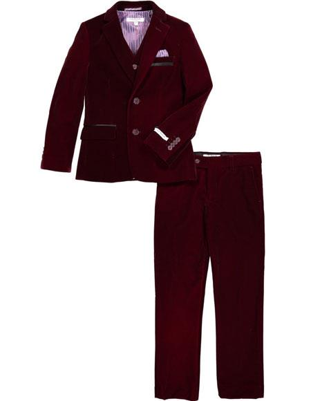 Mens Velvet Fabric Burgundy