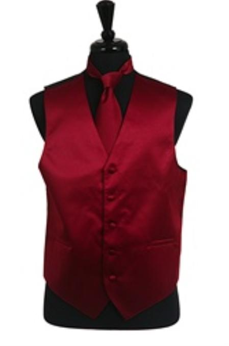 Product# VS1014 Vest Tie Set Burgundy ~ Maroon ~ Wine Color