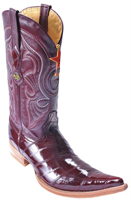 480f9a75d7b Product# KA8012 Eel Classy Burgundy ~ Maroon ~ Wine Color brown color shade  Authentic Los altos Cowboy Boots Western Rider Style