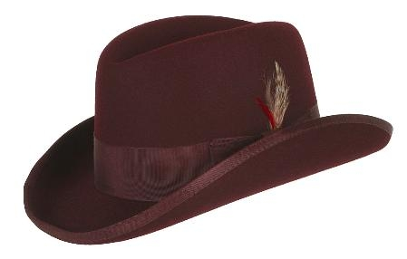 Burgundy ~ Maroon ~ Wine Wool Fabric Homburg Dress Hat