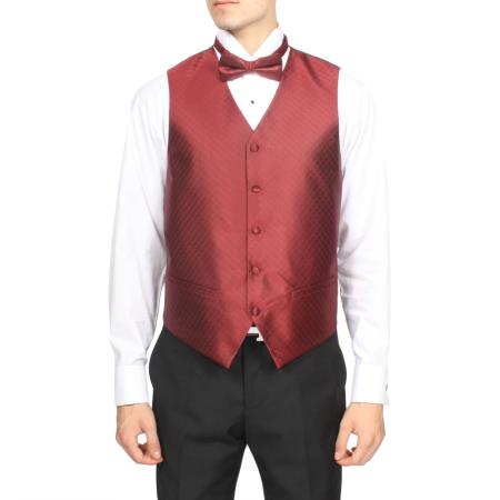 Product# PN70 Burgundy ~ Maroon ~ Wine Color red color shade Diamond Pattern 4-Piece Vest Set