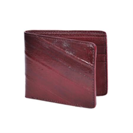 Product# KA3217 Wild West Boots Wallet-Burgundy ~ Maroon ~ Wine Color Genuine Exotic Eel Skin