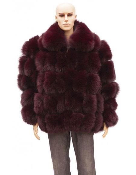 Mens Fur Burgundy Full