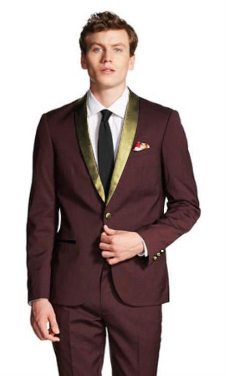 Burgundy And Gold Tuxedo Wool Suit For Men Burgundy Tuxedo