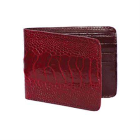 Product# KA8733 Wild West Boots Wallet- Burgundy ~ Maroon ~ Wine Color Genuine Exotic Ostrich Leg