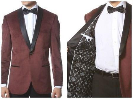 1 Button Style men's Velvet Tuxedo Jacket ~ Velour Tuxedo With Liquid Jet Black Trim Shawl Collar Dinner Jacket Blazer Online Sale Sport Coat Burgundy Clearance Sale Online Burgundy Tuxedo