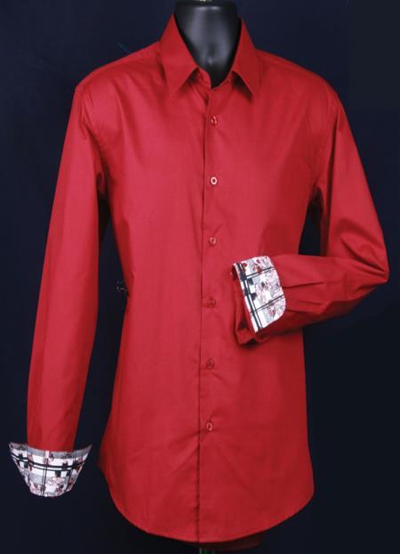 Product# KA6638 Fancy Slim narrow Style Fit Dress Shirt - Cuff Pattern