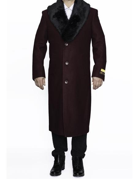 Mens Removable Fur Collar