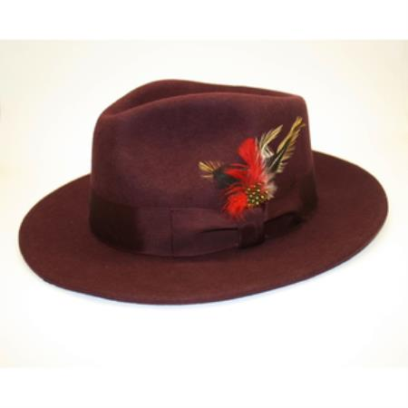 Burgundy Wool Fabric Fedora