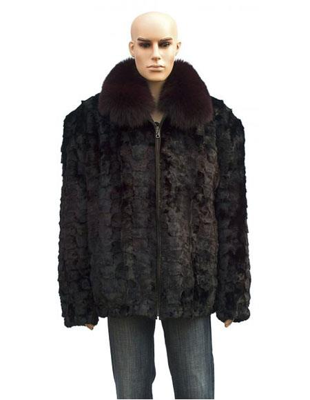 Mens Fur Burgundy Pull