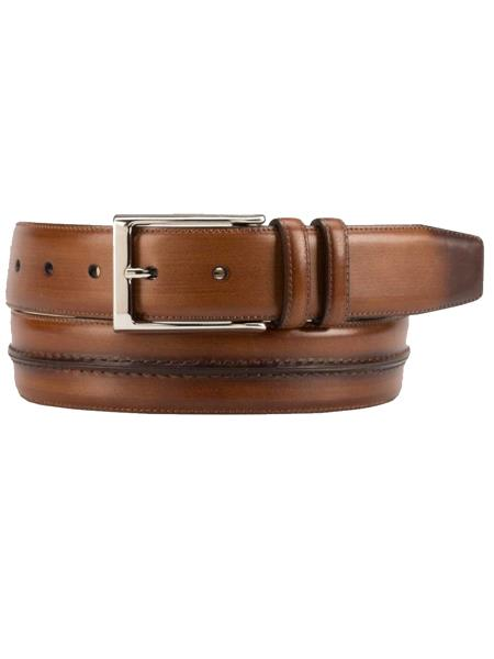 Product# JA281 Mezlan Brand Men's Genuine Burnished Calfskin Brown Skin Belt
