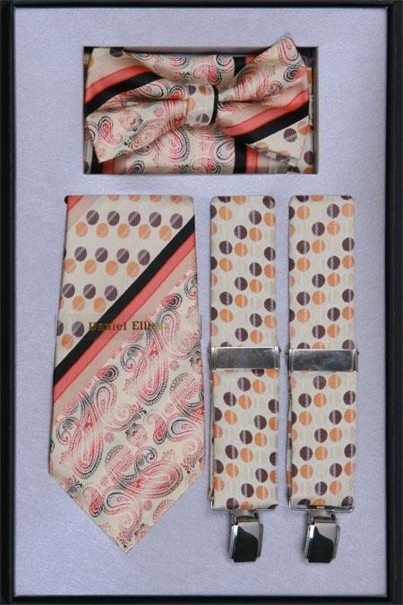Product# MG59 Suspender, Tie, Bow Tie ~ Bowtie and Hanky Set Soft Butter