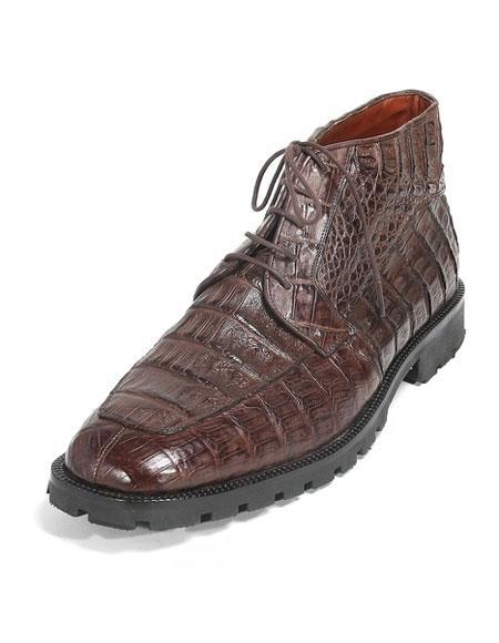 6b009a196b0 Product# JSM-3279 Men's Los Altos Brown Stylish Genuine Caiman Crocodile  Belly Hornback Dress Ankle Boot