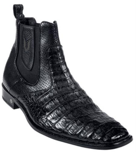 Product# KA2887 Genuine cai ~ Alligator skin Belly Liquid Jet Black Dress Short Boot