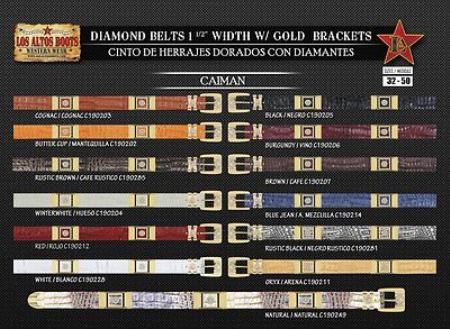 Product# MI4436 Diamond Genuine cai ~ Alligator skin 1.5 Wide Belt W/Gold Bracket
