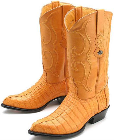 93f0708592c Product# KA2350 cai ~ Alligator skin Tail Buttercup Yellow Authentic Los  altos Western Boots Cowboy Classics Style