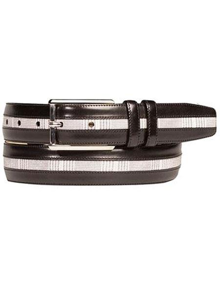 Product# JSM-6715 Mezlan Men's Genuine Calfskin Black/White Printed Suede Belt