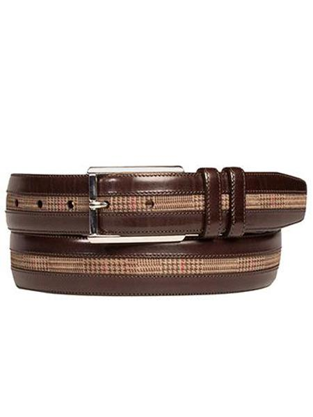 Product# JA283 Mezlan Brand Men's Genuine Calfskin Brown / Taupe Skin Belt