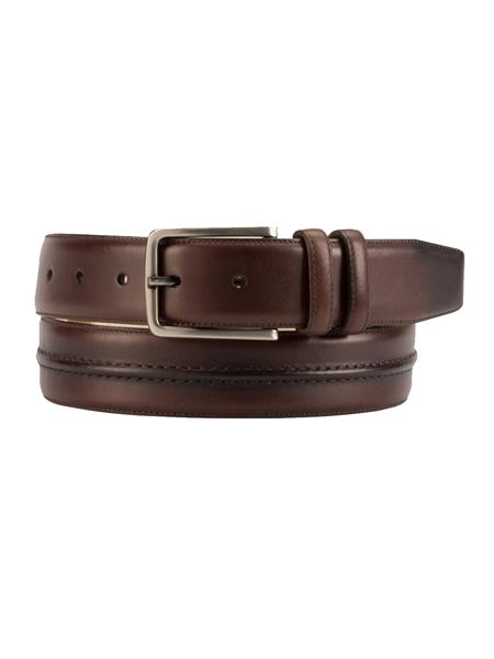 Product# JA263 Mezlan Brand Men's Genuine Calfskin Brown Skin Belt