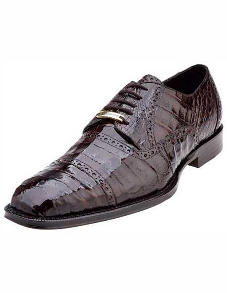 Product# JSM-1222 Men's Belvedere Italian Crocodile Cap Toe Style Brown Shoes