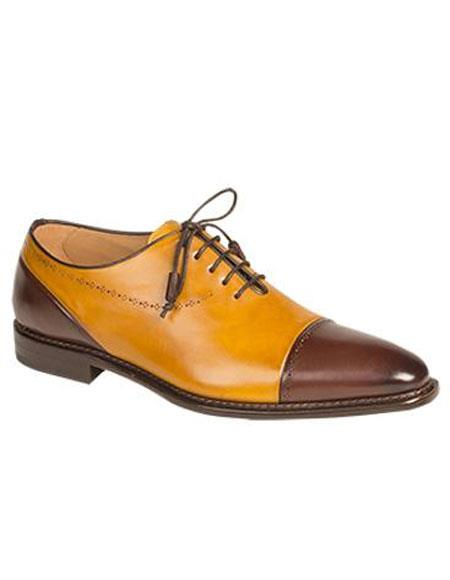 Mens Brown/Mustard Cap Toe