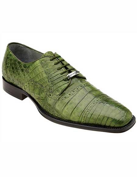 Mens Belvedere Leather Emerald