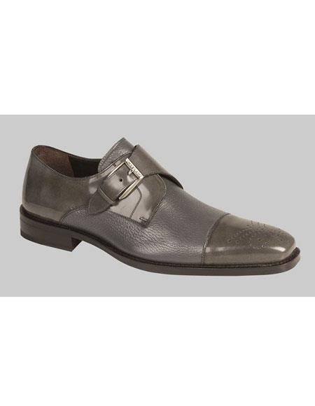 Mens Grey Monk Strap