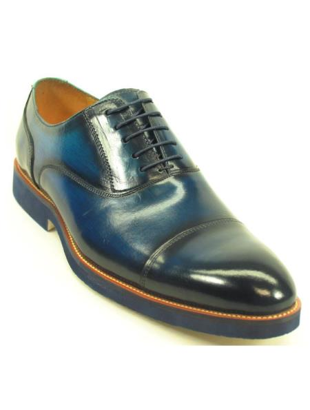 Product# JSM-6359 Carrucci Men's Navy Genuine Leather Lace Up Cap Toe Oxford Shoes With Matching Sole