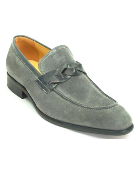 Product# JSM-6360 Carrucci Men's Fashionable Slip On Genuine Suede With Leather Trim Loafer Shoes Grey